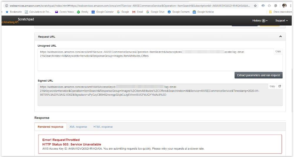 Testeo de las claves API de Amazon desde Scratchpad