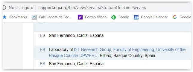 Listado de servidores NTP
