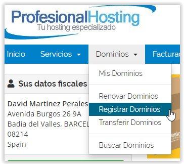 Registrar un nuevo dominio en Profesional Hosting