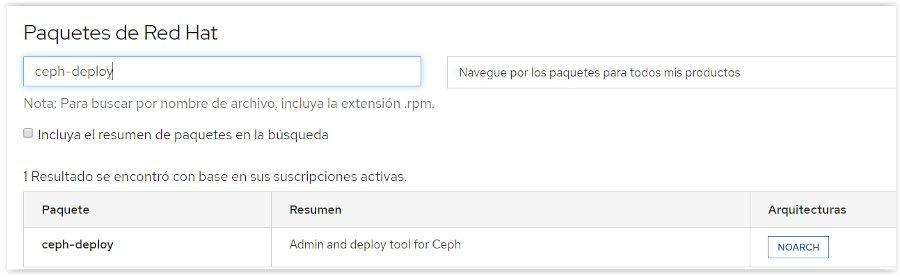 Descarga del paquete ceph-deploy de RedHat
