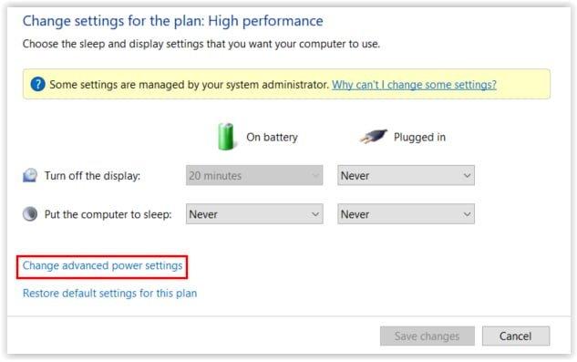 Opciones avanzadas de la configuracion de la energia en Windows 10