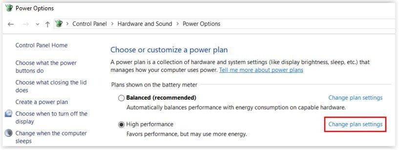 Cambiar la configuracion del plan de energia en Windows 10