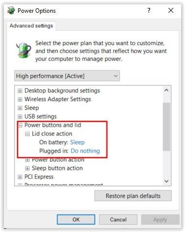 Configuracion de la energia en Windows 10 cuando cerramos la tapa del portatil