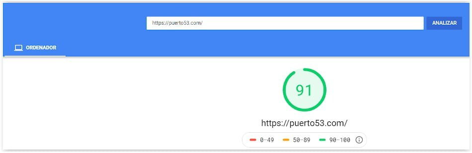 Puerto53.com - Pagespeed con ProfesionalHosting.com