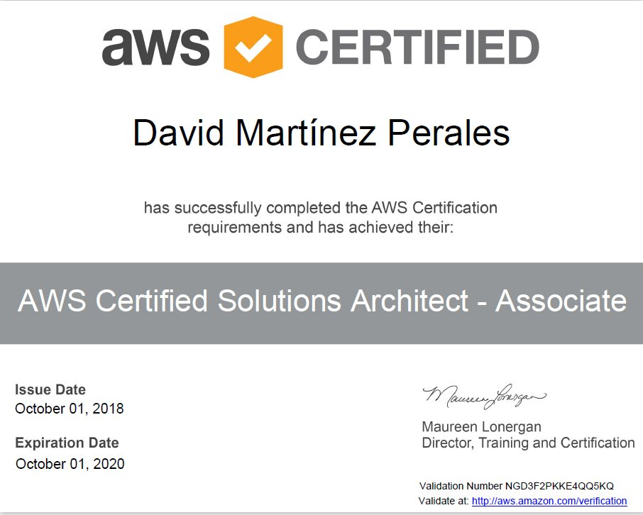 Certificacion Amazon AWS Asociado - David Martinez Perales