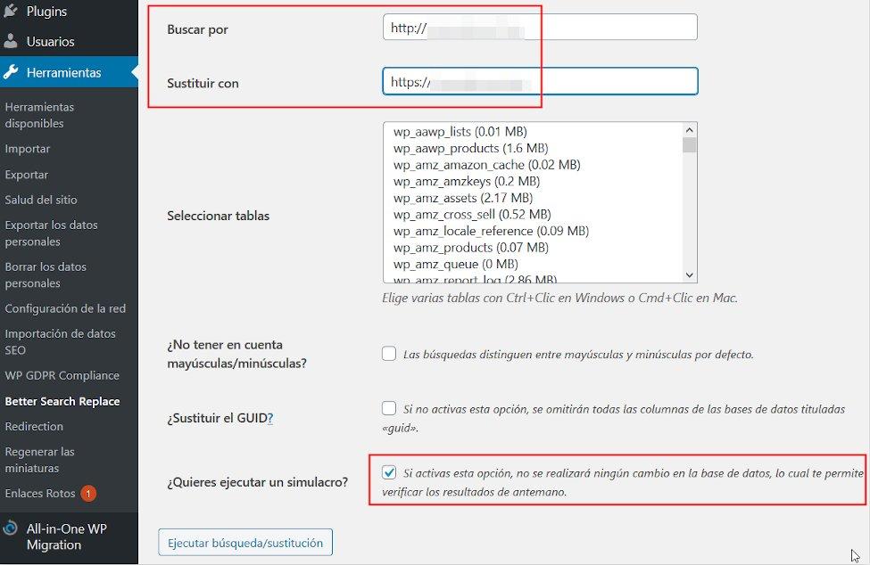 Plugin de WordPress Search and Replace para sustituir cadenas de caracteres en la base de datos