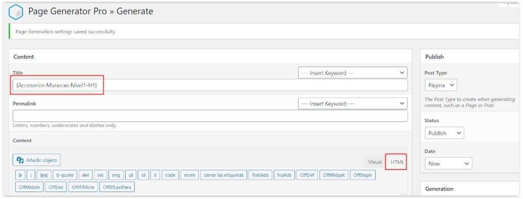 Generar la plantilla de contenido espineado con PageGenerator PRO