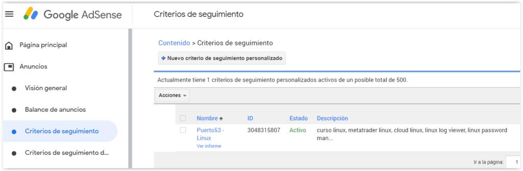 Configurar un nuevo criterio de seguimiento en Google Adsense