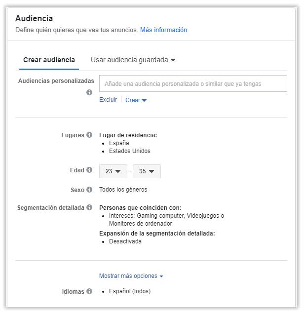 Audiencia segmentada en Facebook Ads