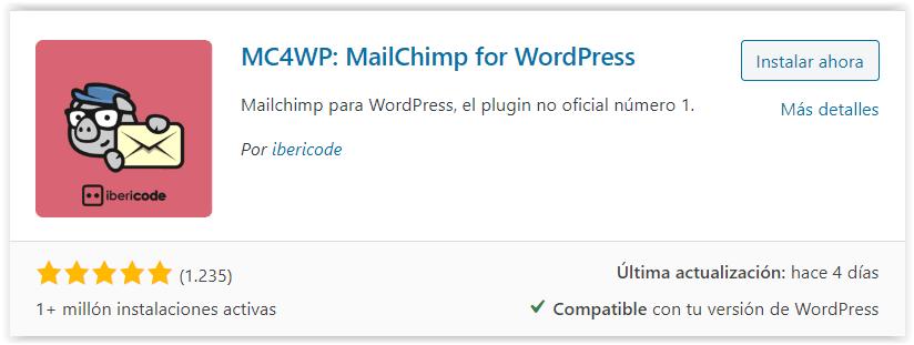 Plugin de Mailchimp para WordPress