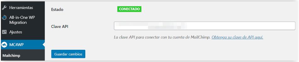 Clave API de Mailchimp