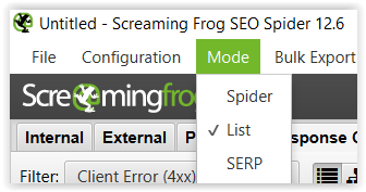 Screaming Frog en modo lista