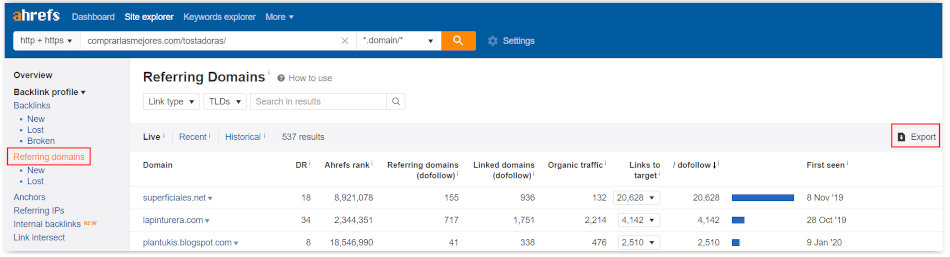 ahrefs - Refereing domains