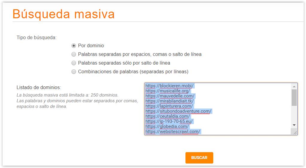 Busqueda masiva de dominios en Don Dominio