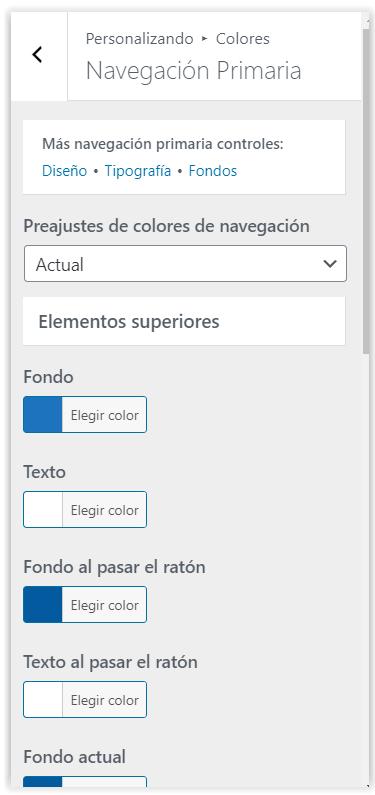 Generatepress - Configuracion de los colores de la navegacion primaria