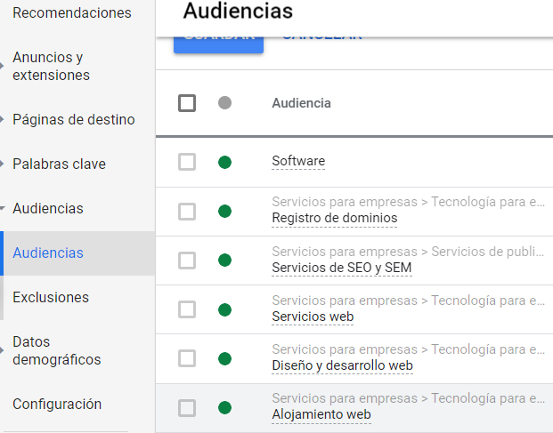 Google Adwords - Definir la audiencia para el anuncio
