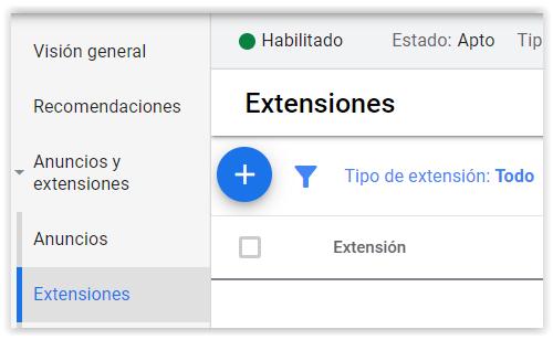 Google Adwords - Crear extensiones del anuncio