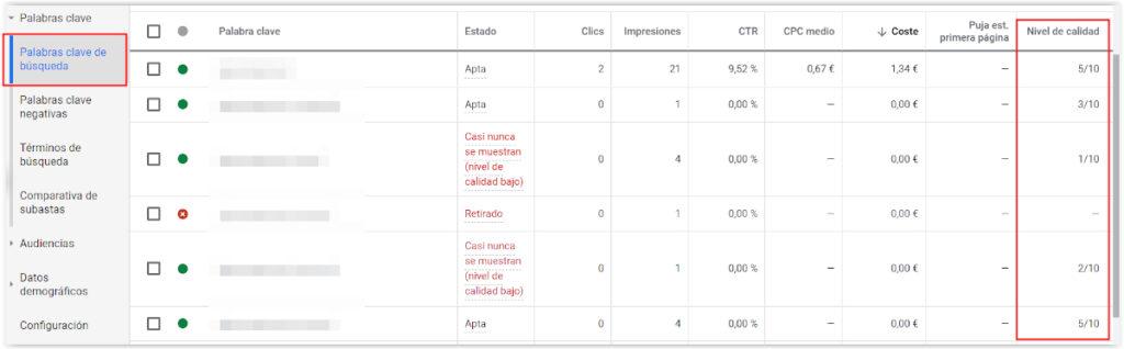 Google Adwords - Nivel de calidad de las palabras clave