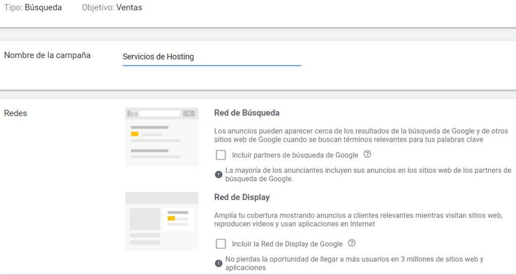 Google Adwords - Asignar nombre a campaña publicitaria
