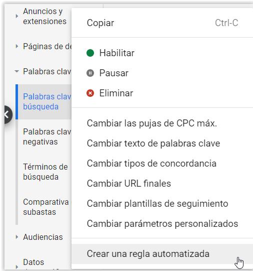 Google Adwords - Menu para crear reglas automaticas