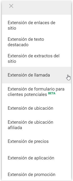 Google Adwords - Tipos de extensiones del anuncio