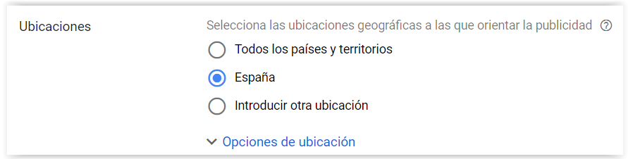 Google Adwords - Elegir ubicacion
