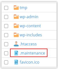 Fichero .maintenance de WordPress