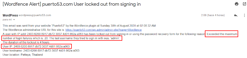 Wordfence - email de aviso de usuario bloqueado