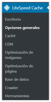 Menu principal del plugin de WordPress LiteSpeed Cache