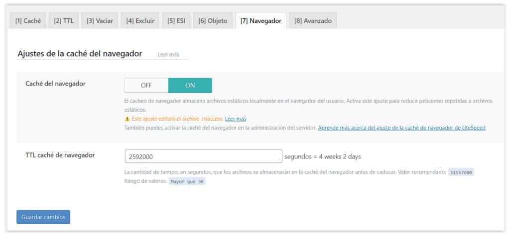Opciones de caché del navegador del plugin de WordPress LiteSpeed Cache