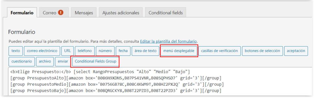 Formulario de contacto condicional en WordPress
