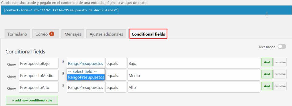 Configurar las condiciones del  contenido a mostrar en función de la opcion elegida en el DropDown de WordPress