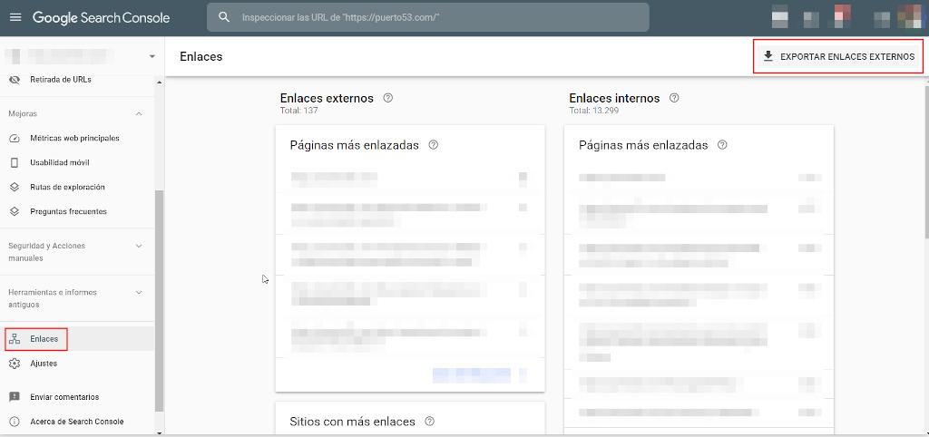 Descarga de los enlaces externos desde Google Search Console