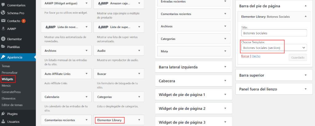 Utilizar una plantilla de Elementor como un Widget de WordPress