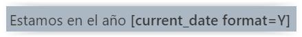 """Ejemplo de uso del plugin """"Shortcode for Current Date"""" para actualizar el año automaticamente en WordPress"""