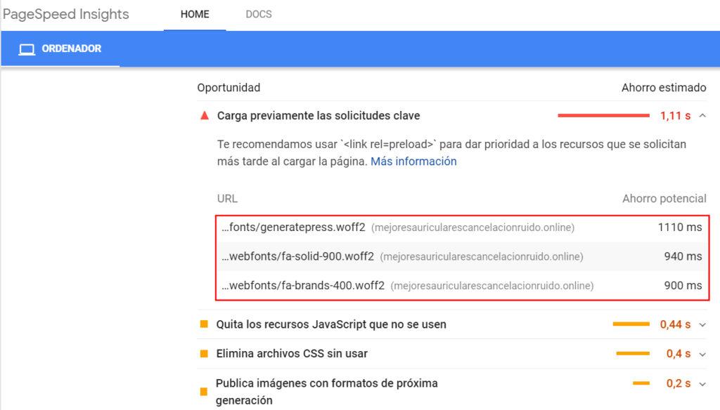 Google Page Insights - Precargar fuentes