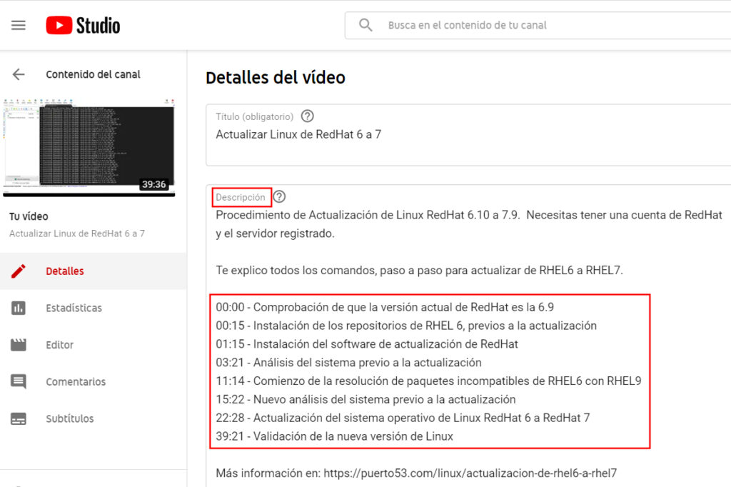 Añadir un indice a un video de youtube