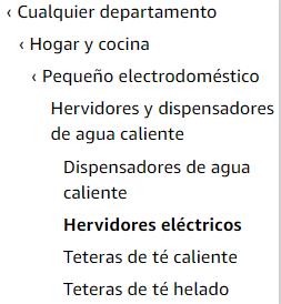 Arbol de categorias de un producto de Amazon